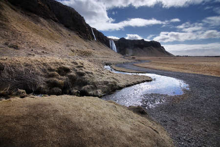 Beautiful scenery of pathways to Seljalandsfoss waterfall in Iceland. Seljalandsfoss is the famous natural landmark and tourist destination place of Iceland. Travel and natural Concept.
