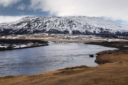 Natural background of big mountain and river in Iceland. travel and nature concept.