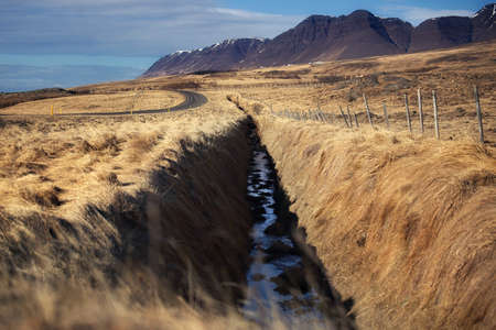 Beautiful scenery of natural from meadow and mountains. Can be seen along the route on Ring road in Iceland. Stock Photo