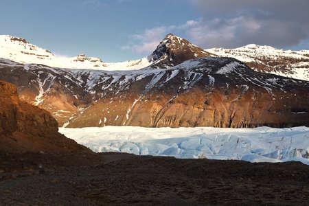 Beautiful scenery during sunset of Svinafellsjokull Glacier in Vatnajokull National Park in Iceland. Travel and natural Concept.