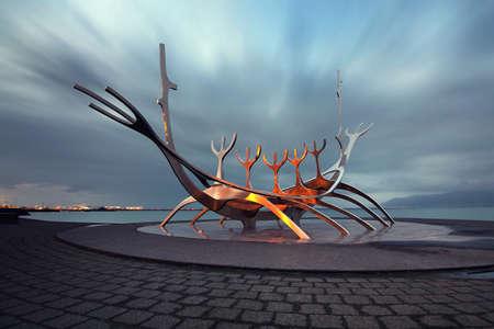 Iceland - April 16, 2019 : Solfar (Sun Voyager) Viking Sculpture stainless-steel modern sculpture of Viking longboat at Reykjavik in Iceland Editorial