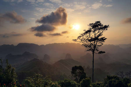 Beautiful scenery during sunrise of Doi Tapang (Doi Ta Pang) Viewpoint at Khao Talu Subdistrict,Sawi District,Chumphon province in Thailand. This is very popular for photographers and tourists. Stock Photo