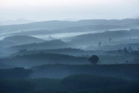 Beautiful scenery of cordillera alternating layers and mist at khaonanailuang dharma park viewpoint Surat thani province in Thailand. This is very popular for photographers and tourists. Stock Photo