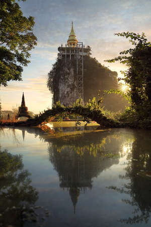 Beautiful scenery during sunrise of khaonanailuang dharma park at Surat thani province in Thailand. This is very popular for photographers and tourists. Stock Photo