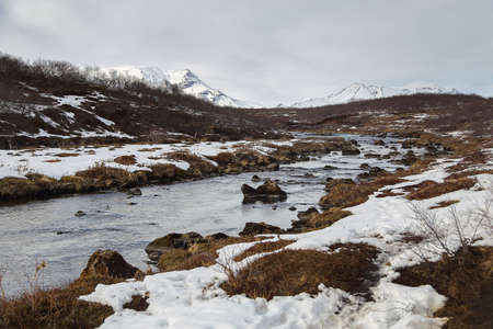 Natural background of mountain and river in Iceland. travel and nature concept. Stock Photo