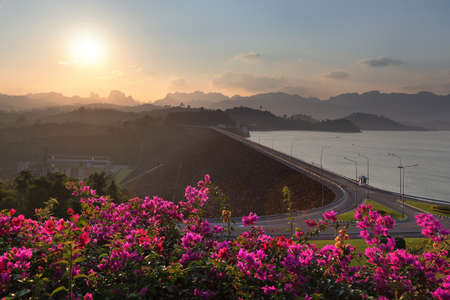 Beautiful scenery during sunset of Ratchaprapa Dam(Cheow Lan Dam) viewpoint at Surat Thani Province in Thailand. This is very popular for photographers and tourists.
