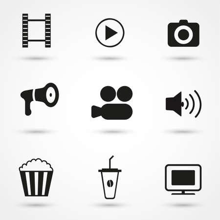 cine: Movie Icons black set Illustration