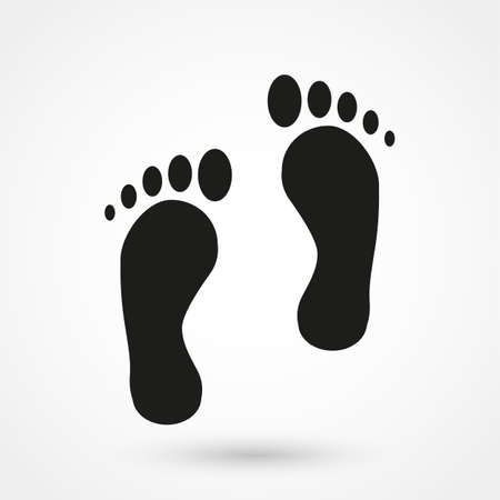 footprints in sand: foot icon vector