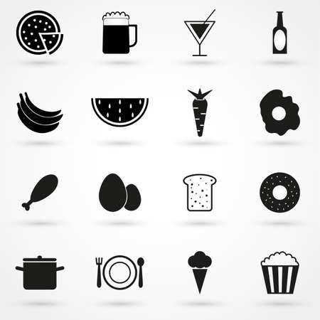 mexican food plate: food icons set vector Illustration
