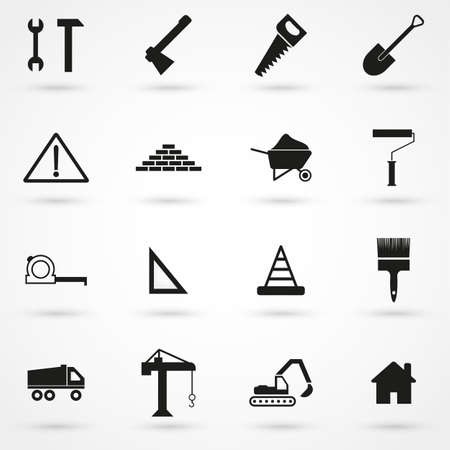 skid steer: construction Icons set vector