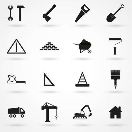 jack hammer: construction Icons set vector