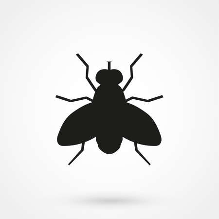 Fly vector icon. Style is flat rounded square button, black and white colors, gray background. Illustration