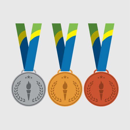 bronze medal: Vector trophy for winners medals: gold, silver, bronze medal. Illustration