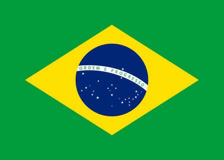 federative republic of brazil: Vector flat style Federative Republic of Brazil state flag Illustration