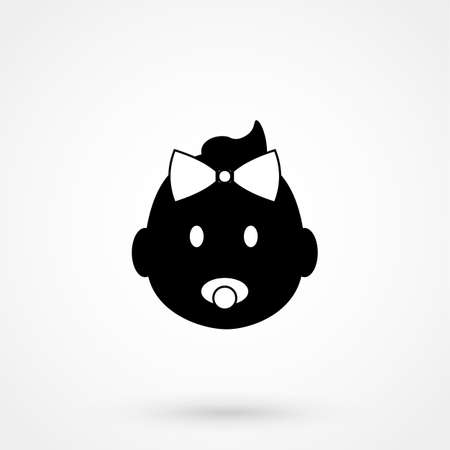 black baby boy: Baby icon simple design on a white background. Vector illustration