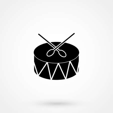 march band: Drum Icon Isolated on White Backdrop