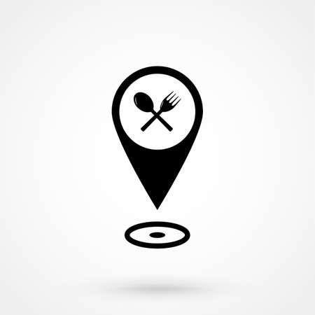 Cafe and restaurants location icon.