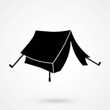 yellow adventure: The tent icon Travel symbol Flat illustration Illustration