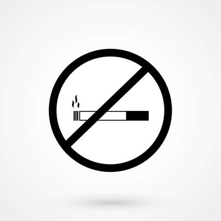 No cigar icon illustration. Filter-tipped cigarette. Icon for public places.