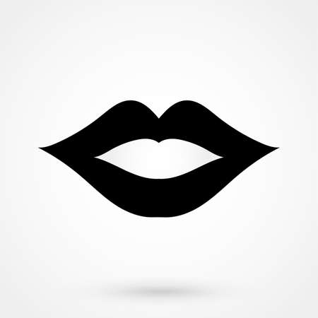 lips - vector icon on white background. Vector illustration.