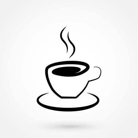 long bean: Coffee cup icon on white background. Vector illustration.