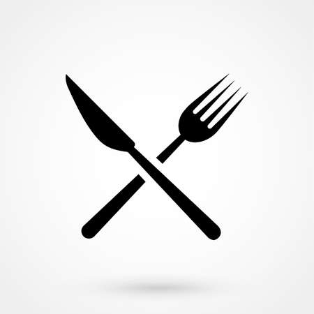 serving utensil: Restaurant icon with knife and fork design.