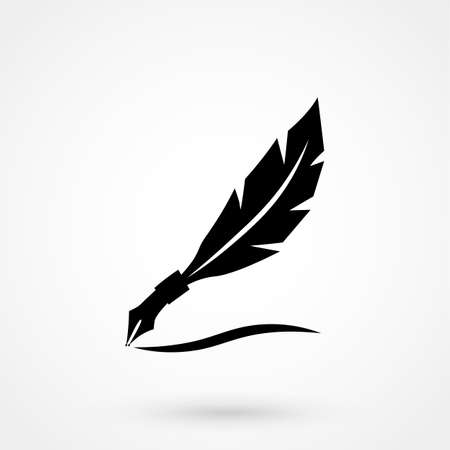 Feather  Vector. Illustration of an ink pen. Illustration