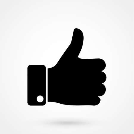"""Comme illustration de vecteur d'icône isolé sur fond blanc. Finger up signe. """"Je l'aime"""" symbole."""