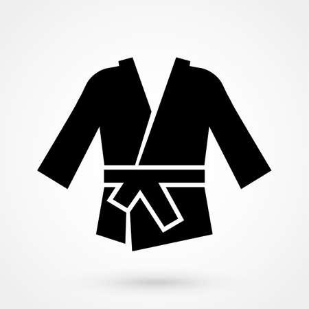 karate kimono icon in a flat design in black color. Vector illustration
