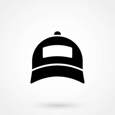 Baseball cap icon. White background with shadow design. Vector illustration.