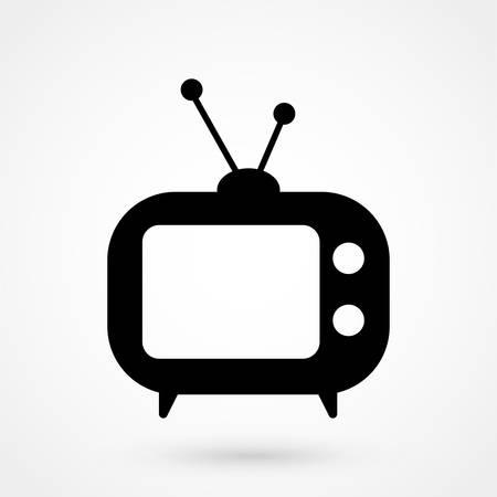 Icona Tv in stile piatto alla moda isolato su sfondo grigio. Simbolo della televisione