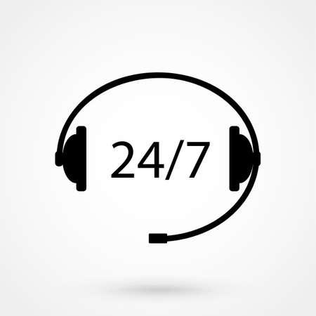 24 時間または 24 時間利用可能な顧客のオンライン コール センターをサービスします。  イラスト・ベクター素材