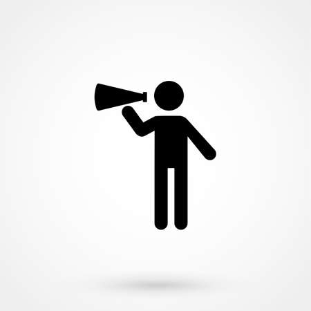 Icon vector illustration showing a stick figure holding a megaphone