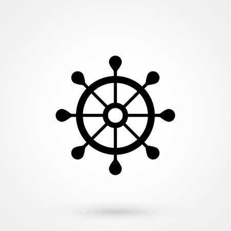 Ship Steering Wheel Vector Icon.