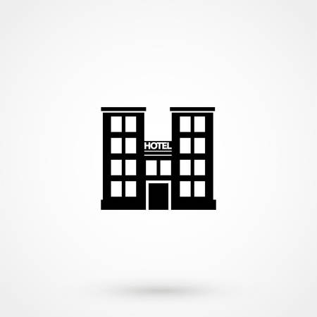 Hotel building vector icon illustration