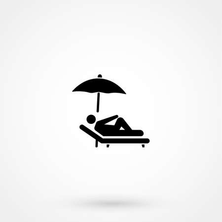 umbrella and sun lounger on the beach isolated linear icon for websites minimalistic flat design