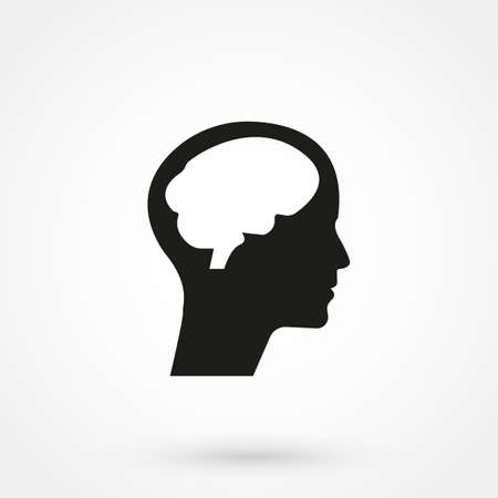 A human head silhouette with brain in isolated background.