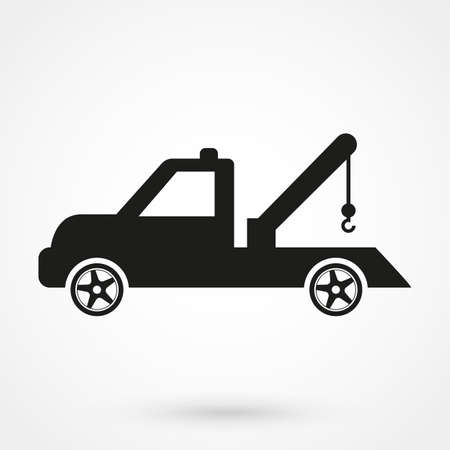 car tow service, truck , solated icon on white background, auto service, car repair