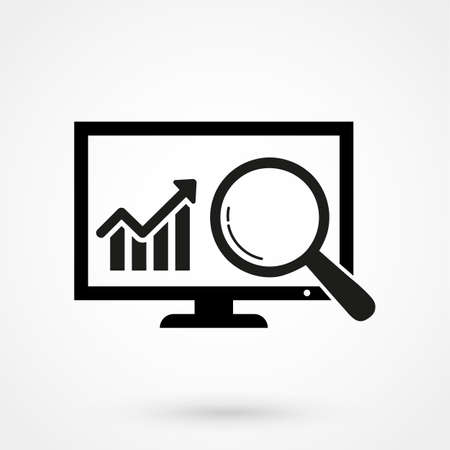 Vector Web Analytics Line Icon. Isolated on White Background
