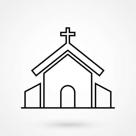 Icono de vector de línea de religión de iglesia