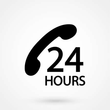 24 h support icon on the white background