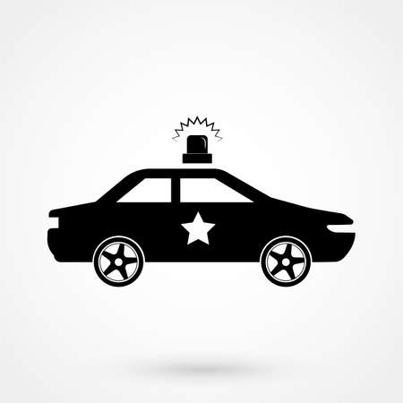 Police Car icon - black vector illustration with reflection