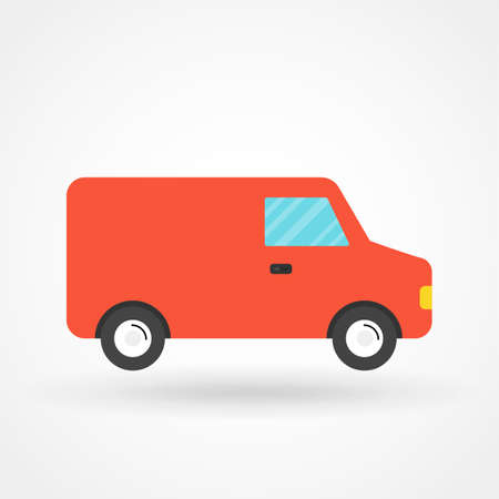 Fast shipping delivery truck flat icon for apps and websites Illustration