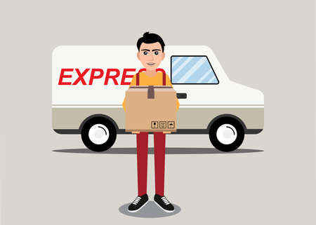 A Vector illustration in flat style - delivery concept - truck and friendly man with box from internet shop - fast shipping