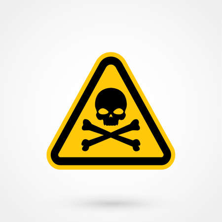 Single yellow triangular warning sign icon graphic of black skull and crossbones over isolated white background Illustration