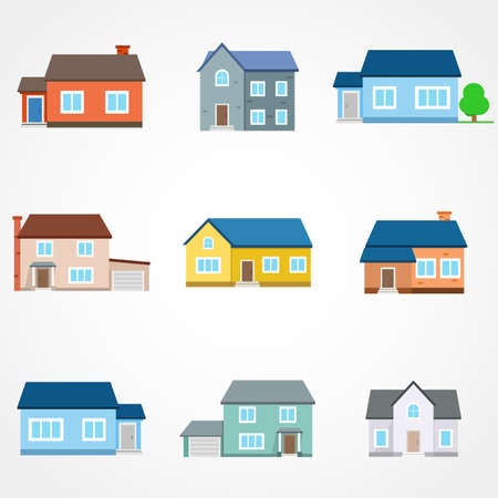 Houses exterior vector illustration front view with roof. Modern. Townhouse building apartment. Home facade with doors and windows. Stock Illustratie