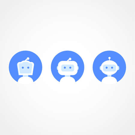 Chatbot icon set. Robot icon. Bot sign design. Chatbot symbol concept. Voice support service bot. Online support robot. Modern blue flat style cartoon character vector illustration.