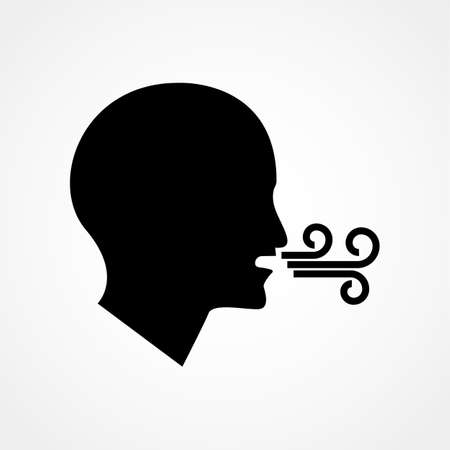 Breathing vector icon. Having breath difficulties. Health Care: checking breath or suffering respiration problems. Isolated modern icon