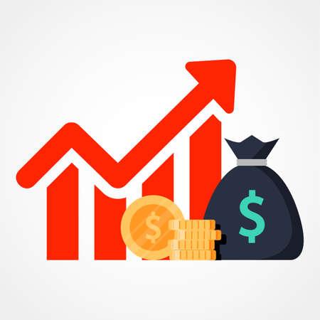 Desempeño financiero, impulsar negocios, productividad de informes estadísticos, fondos mutuos, retorno de la inversión, consolidación financiera, planificación presupuestaria, crecimiento de ingresos, icono plano vectorial