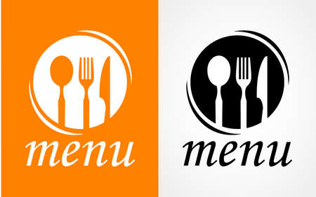 Cooking, cuisine logo. Icon and label for design menu restaurant or cafe. Lettering, calligraphy vector illustration Çizim